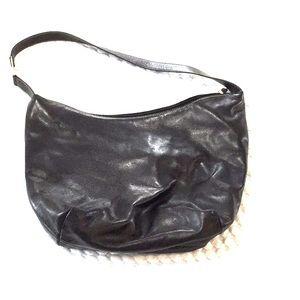 Black leather 💯 leather lined shoulder bag nwot